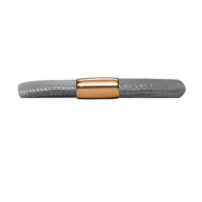 Endless Jewellery Grey Single Leather Gold Plate Bracelet