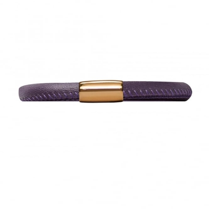 Endless Jewellery Purple Gold Plated Single Leather Bracelet