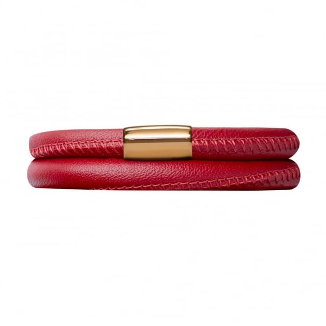 Endless Jewellery Red Double Leather Gold Plate Bracelet