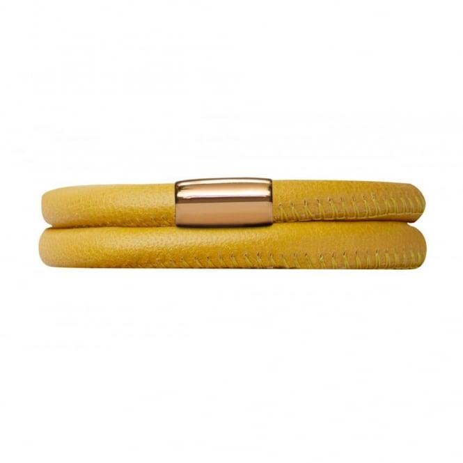 Endless Jewellery Yellow Double Leather Gold Plate Bracelet
