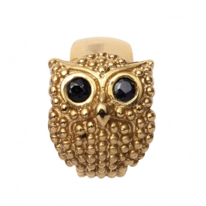 Endless Jewellery Yellow Gold & Black Sapphire Owl Charm