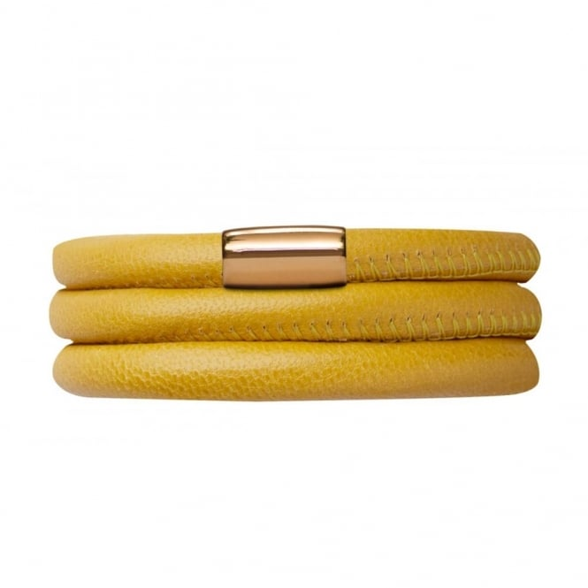 Endless Jewellery Yellow Triple Leather Gold Plate Bracelet