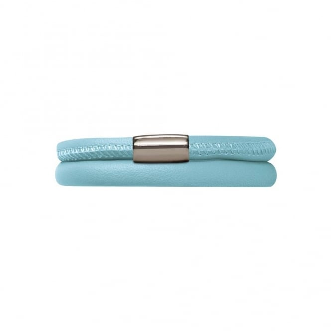 Endless Jewellery Light Blue Double Leather Clasp Bracelet