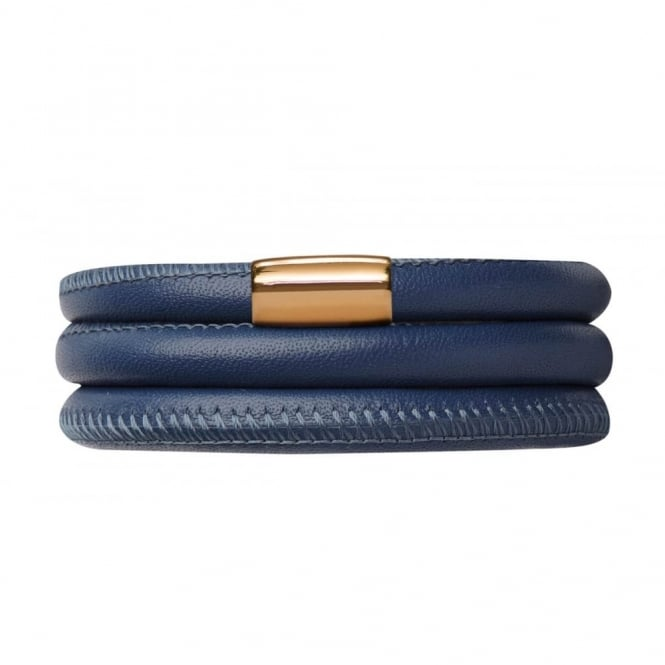 Endless Jewellery Navy Triple Leather Gold Plated Bracelet