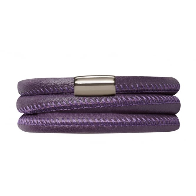 Endless Jewellery Purple Triple Leather Magnetic Clasp Bracelet