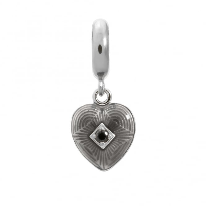Endless Jewellery Sterling Silver Grey Heart CZ Charm