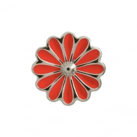 Sterling Silver Red Daisy Flower Charm