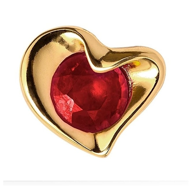 Endless Jewellery Yellow Gold Red Garnet Heart Charm