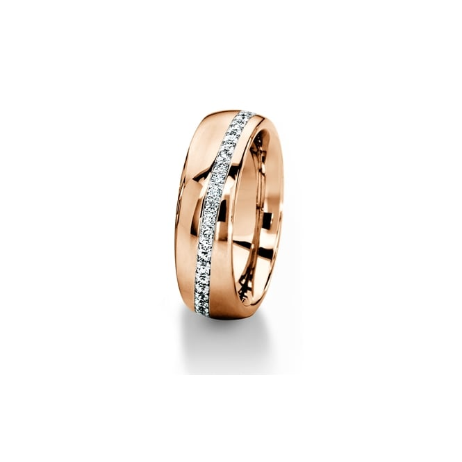Furrer Jacot 18ct Rose Gold 0.312ct Diamond Stripe Wedding Ring