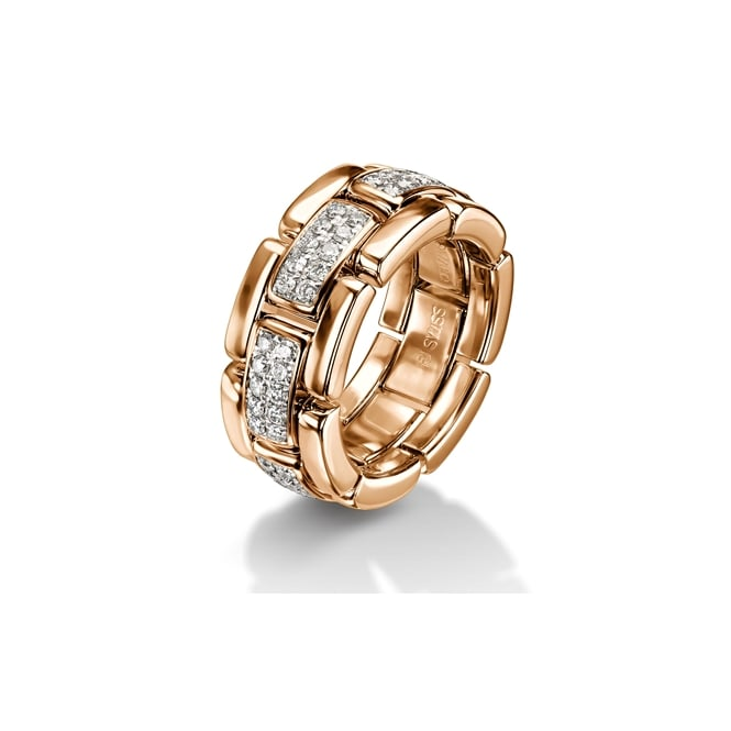 Furrer Jacot 18ct Rose Gold 0.70ct Diamond Set Collapsible Chain Wedding Ring
