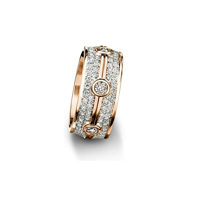 Furrer Jacot 18ct Rose Gold 1.524ct Diamond Set Court Wedding Band
