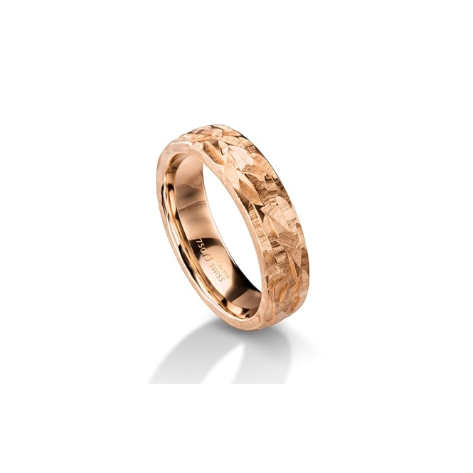 Furrer Jacot 18ct Rose Gold 6mm Hammered Surface Wedding Ring