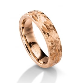 18ct Rose Gold 6mm Hammered Surface Wedding Ring