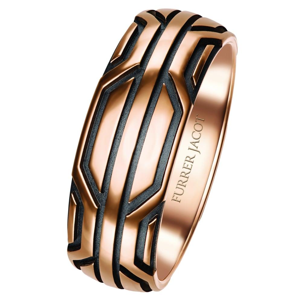 Rose Gold Black SciFi Wedding Ring