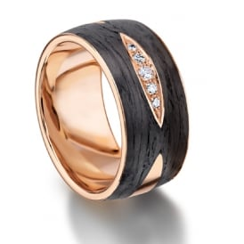 18ct Rose Gold & Carbon 0.071ct Diamond Set Wedding Band