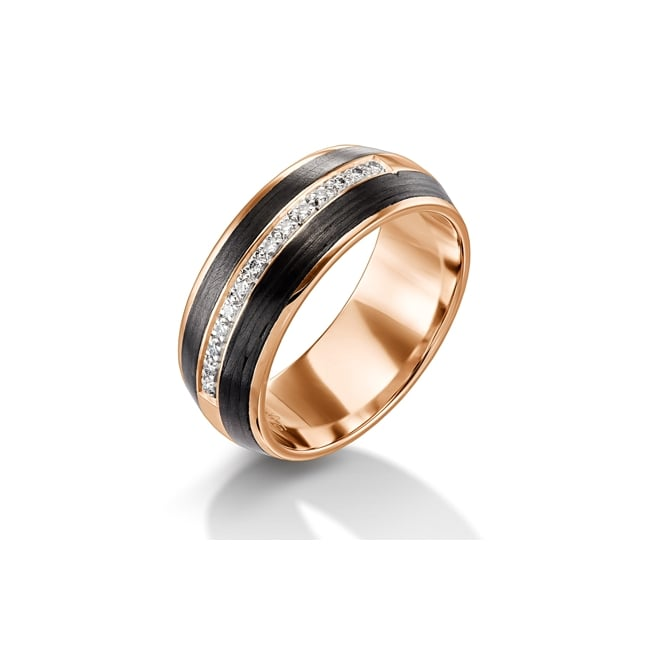 Furrer Jacot 18ct Rose Gold & Carbon Fibre 1/3 Diamond Set Wedding Ring