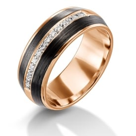 18ct Rose Gold U0026 Carbon Fibre 1/3 Diamond Set Wedding Ring