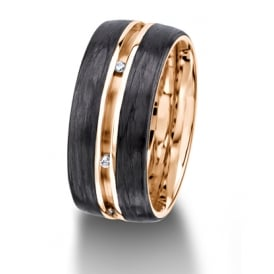 18ct Rose Gold & Carbon Fibre Fully Set 0.048ct Wedding Ring