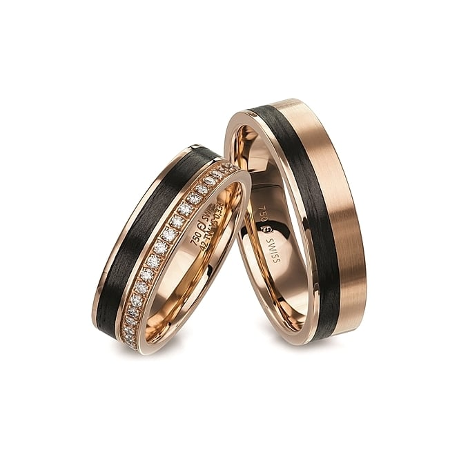 Furrer Jacot 18ct Rose Gold & Carbon Fibre Plain Set Wedding Band