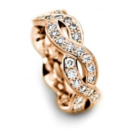 18ct Rose Gold Fully Set 0.750ct Curved Wedding Ring