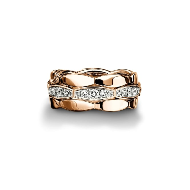Furrer Jacot 18ct Rose Gold Fully Set Diamond 0.672ct Shaped Wedding Ring