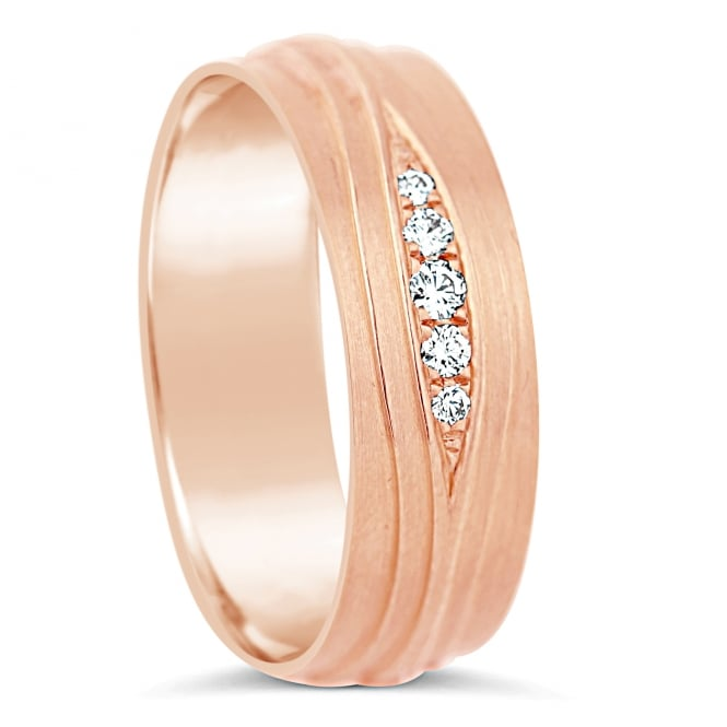 Furrer Jacot 18ct Rose Gold Half Set 0.066ct Diamond Wedding Band