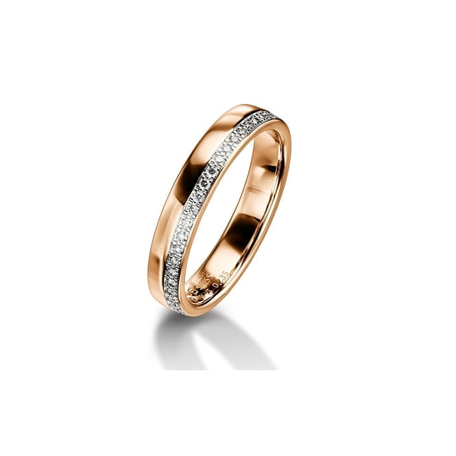 Furrer Jacot 18ct Rose Gold Half Set 0.120ct Brilliant Diamond Wedding Ring