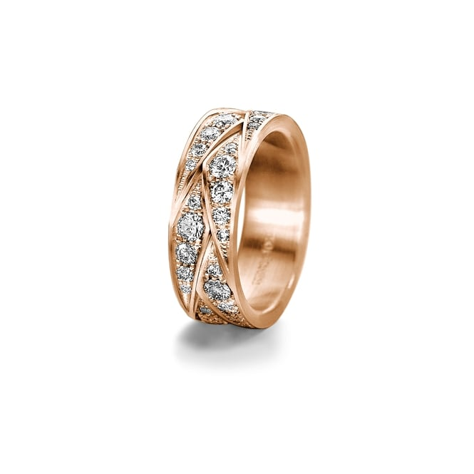 Furrer Jacot 18ct Rose Gold Patterned 1.55ct Fully Set Diamond Wedding Ring
