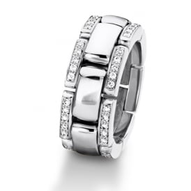 18ct White Gold 0.350ct Diamond Set Linked Wedding Ring