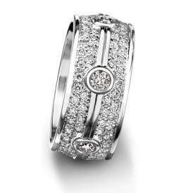 18ct White Gold 1.524ct Diamond Set Court Wedding Band