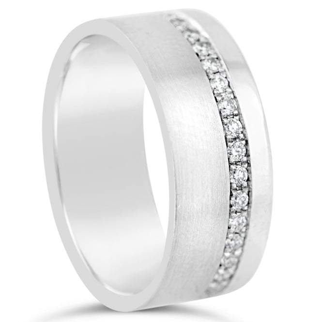 Furrer Jacot 18ct White Gold 7.5mm 0.38ct Diamond Set Wedding Ring