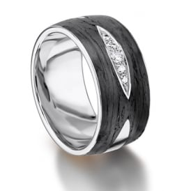 18ct White Gold & Carbon 0.071ct Diamond Set Wedding Band