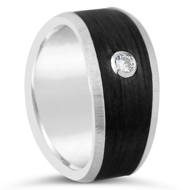 Furrer Jacot 18ct White Gold & Carbon Fibre 0.060ct Diamond Wedding Ring