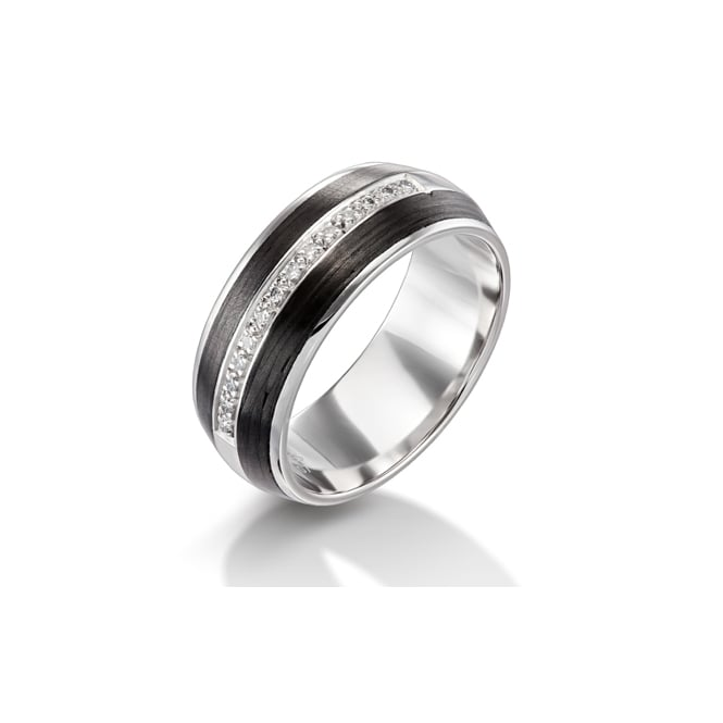 Furrer Jacot 18ct White Gold & Carbon Fibre 1/3 Diamond Set Wedding Ring