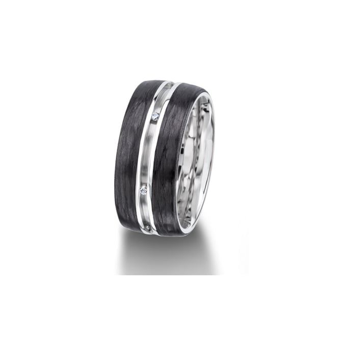 Furrer Jacot 18ct White Gold & Carbon Fibre Fully Set 0.048ct Wedding Ring