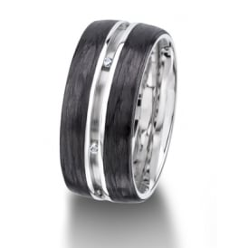 18ct White Gold & Carbon Fibre Fully Set 0.048ct Wedding Ring