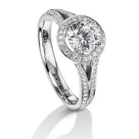 18ct White Gold Diamond Set Split Shank Halo Engagement Ring