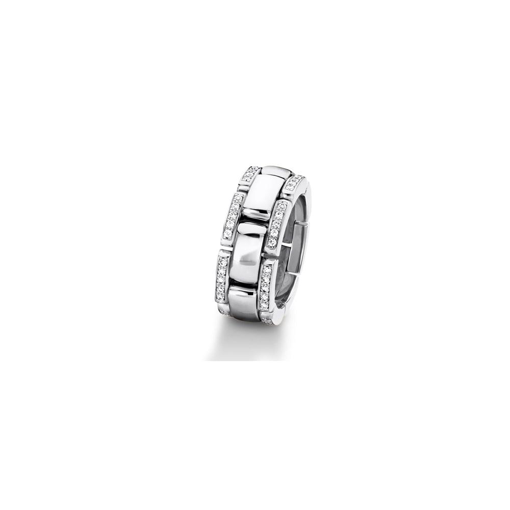 18ct White Gold 0 350ct Diamond Set Linked Wedding Ring