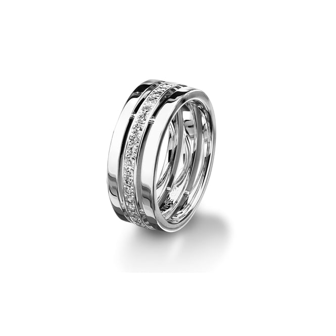 Furrer Jacot 18ct White Gold Fully Set 0.420ct Diamond Cut Out Ring