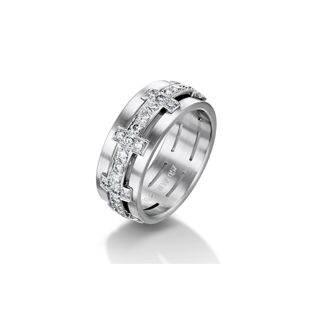 Furrer Jacot 18ct White Gold Fully Set 1.04ct Diamond Chilli Wedding Ring