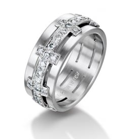 18ct White Gold Fully Set 1.04ct Diamond Chilli Wedding Ring
