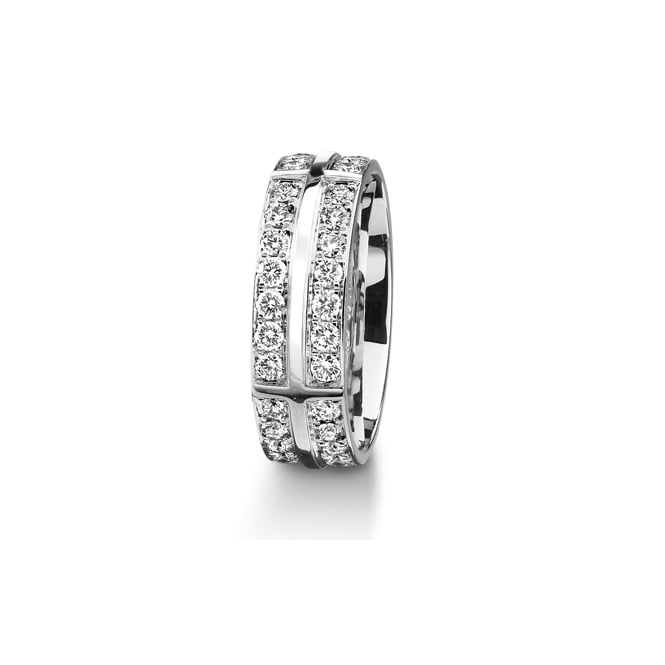 Furrer Jacot 18ct White Gold Fully Set 1.40ct Brilliant Diamond Wedding Ring