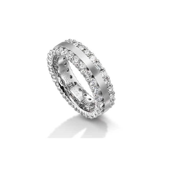 Furrer Jacot 18ct White Gold Fully Set 2.100ct Double Row Diamond Ring