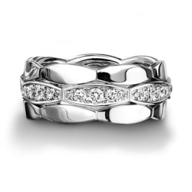 18ct White Gold Fully Set Diamond 0.672ct Shaped Wedding Ring
