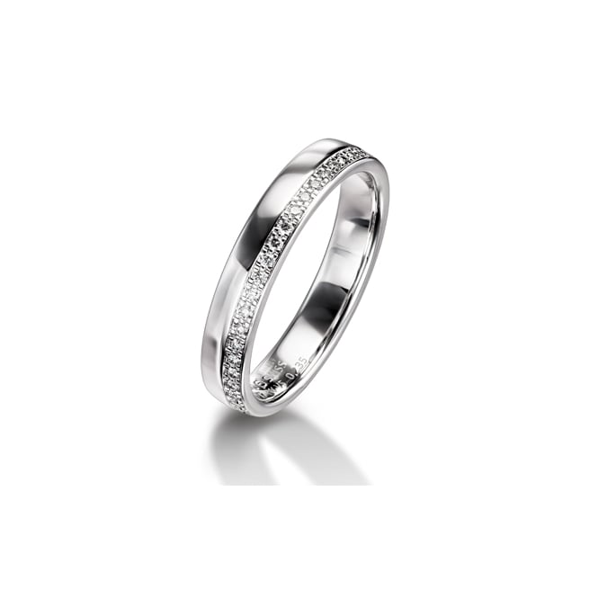 Furrer Jacot 18ct White Gold Half Set 0.120ct Brilliant Diamond Wedding Ring