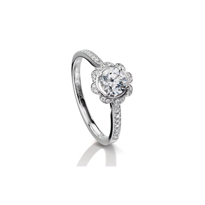 Furrer Jacot 18ct White Gold Margrite Diamond Set Shoulder Engagement Ring