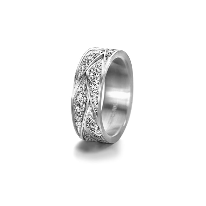 Furrer Jacot 18ct White Gold Patterned 1.55ct Fully Set Diamond Wedding Ring