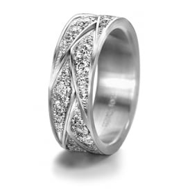 18ct White Gold Patterned 1.55ct Fully Set Diamond Wedding Ring