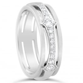 18ct White Gold Patterned Fully Set 0.546ct Diamond Ring