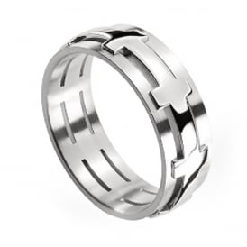 18ct White Gold Plain Set 6mm Chilli Wedding Ring